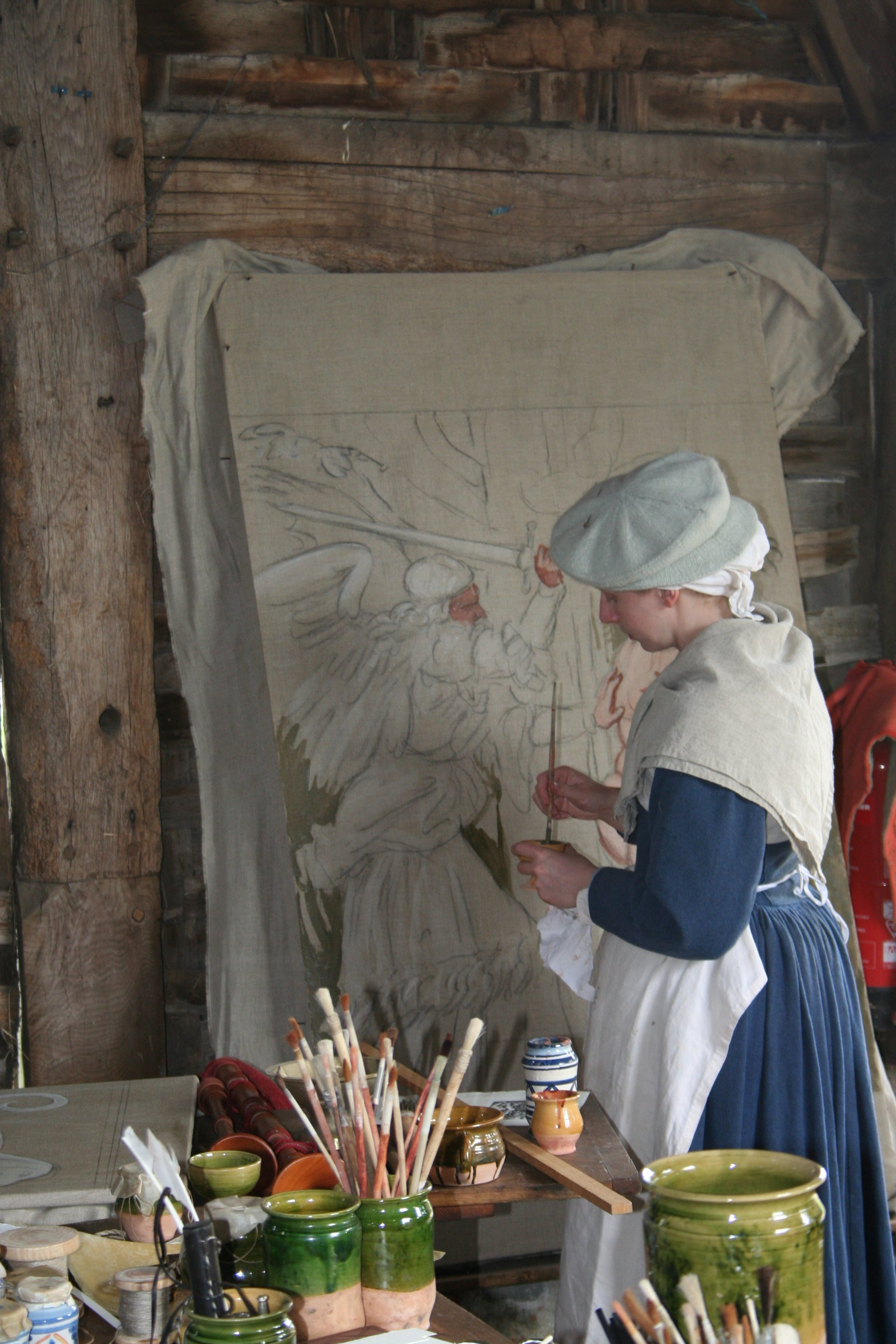 Tudor stained cloth in production